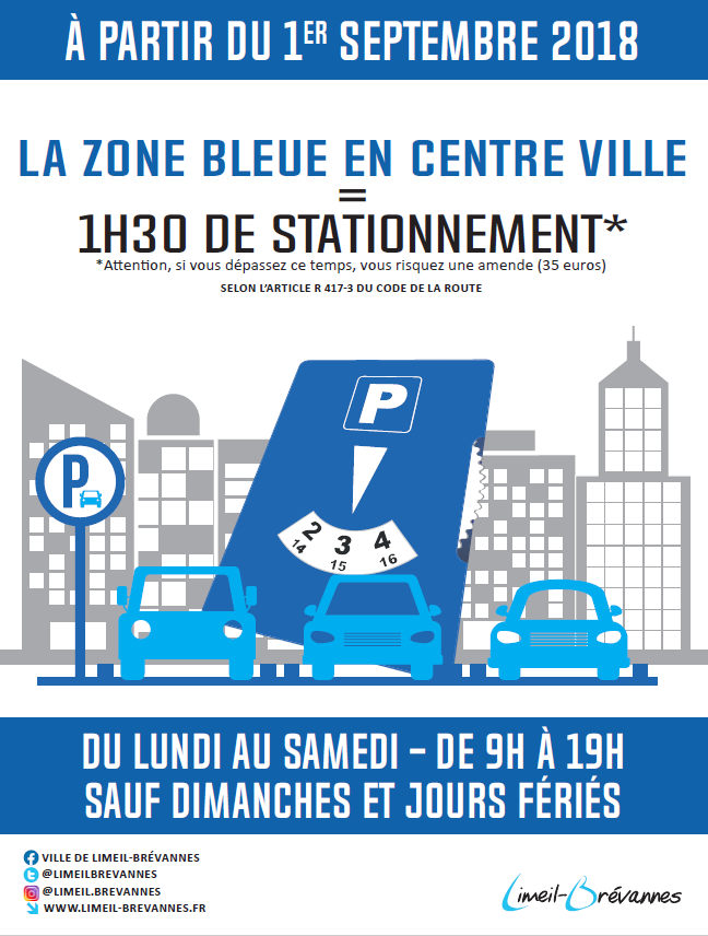 Stationnement: nouvelle zone bleue le 1er septembre