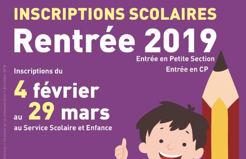 Inscriptions scolaires - Rentrée 2019