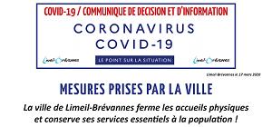COVID-19 -  Mesures prises par la Ville