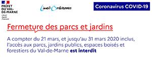 COVID-19 - Fermeture des parcs et jardins