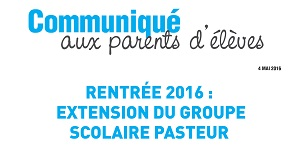 RENTREE 2016 : EXTENSION DU GROUPE SCOLAIRE PASTEUR