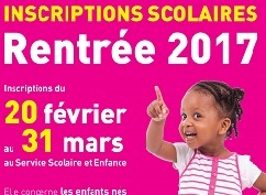 INSCRIPTIONS SCOLAIRES : RENTREE 2017